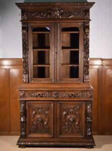 Antique French Black Forest Hunting Bookcase Gun Display Cabinet