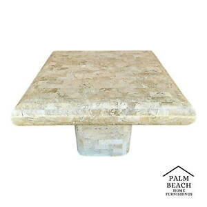 70 S Karl Springer Maitland Style Tessellated Fossil Stone Pedestal Coffee Table