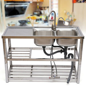 Stainless Steel Commercial Home Sink Bowl Kitchen Catering Prep Table 2 Bowls Us