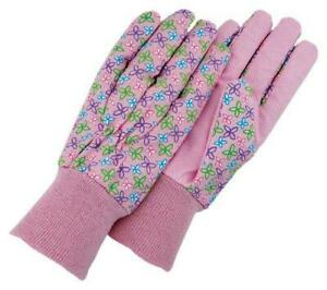 Magid Kd103t Kids Dotted Canvas Knit Wrist Glove Floral Print assorted