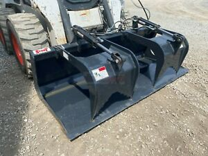 New unused Stout 72 Skid Steer Grapple Bucket Dual Cylinder Ssl Quick Attach
