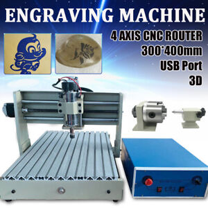 Cnc Router Engraver 4 Axis Usb 400w 3040 Cnc Engraving Drilling Milling Us