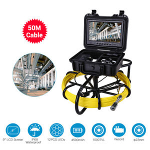 9 50m Sewer Camera Ip68 Lcd Drain Pipe Pipeline Inspection System 8gb W Dvr