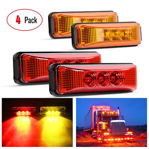 4x 3 9 Red Amber 3 Led Side Marker Lights Clearance Light Truck Trailer Rv 12v