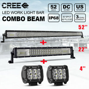 52 in Tri Row 300w Combo Led Light Bar 22 inch 300w 2x 90w 4 Cube Pods