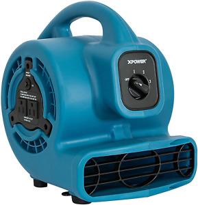 Xpower P 80a Mini Mighty Air Mover Utility Fan With Built in Power Outlets Blu
