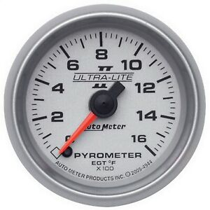 Autometer 4944 Ultra lite Ii Electric Pyrometer Gauge Kit W Silver Dial Face