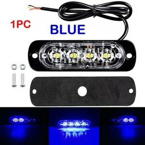 4pcs Blue 4led Car Truck Emergency Beacon Lights Hazard Flash Strobe Bar Warning