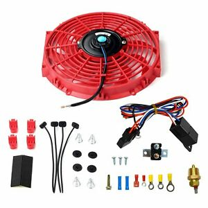 12 Universal Electric Slim Push Radiator Cooling Fan Red Thermostat Relay Kit