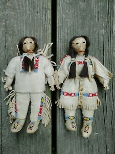 Antique Native American Rare Indian Beaded Leather Hide Dolls 19th Century