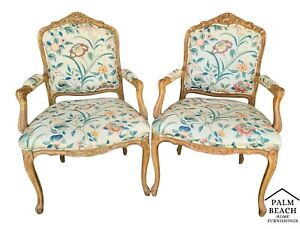 2 Vintage W J Sloane French Provincial Bergere Chairs With Asian Themed Fabric