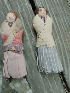 Old Native American Two Ladies Cloth Dolls