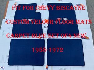 Fit For Chevy Biscayne Custom Velour Floor Mats Carpet Blue Set Of4 New 1958 972