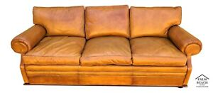 Classic Vintage Ralph Lauren Mid Century Modern Style Real Leather Sofa