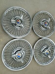 1965 Ford Mustang Original 14 Wire Wheel Hubcaps Center Cap Spinners Vintage