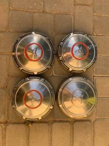 4 Stainless Mopar Dodge Dog Dish Hubcaps 69 71 Nice