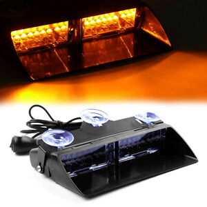 16 Led Amber Strobe Flash Light Dash Emergency Interior Hazard Warning Lamp 12v