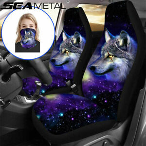 Us Wolf Animal Print Car Seat Cover Protector For 2 Front Seat Wolf Print Scarf