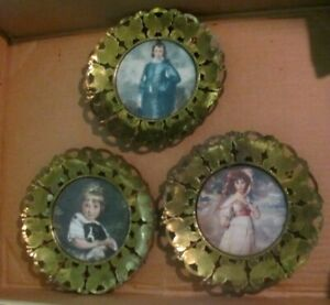 Lot Of 3 Vintage Brass Butterfly Round 6 Picture Frames W Glass England