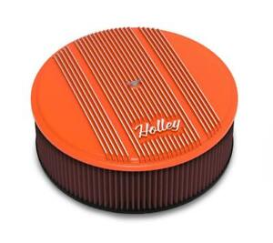 Vintage Series 14 Round Finned Air Cleaner W 4 Premium Filter Orange 120 129