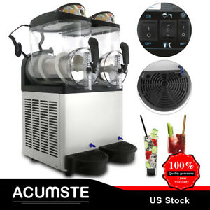 Home Commercial Snow Slush Machine Frozen Drink Machine Ice Maker 2 Tank 24l