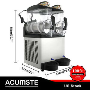 Snow Slush Machine Frozen Drink Machine Ice Maker 2 Tank 24l Home Easy Operation