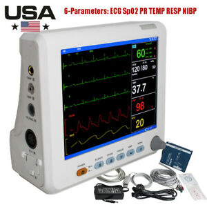 8 Digtal Vital Sign Patient Monitor Ecg Nibp Resp Temp Spo2 Pr 6parameter Icu