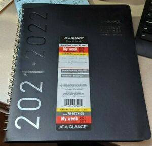 At a glance Weekly Monthly Planner 8 1 4 Inch X 11 Inch Black 2021 2022