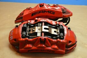 2012 W204 Mercedes Benz C63 Amg Brembo Front Brake Caliper Calipers Red Pair