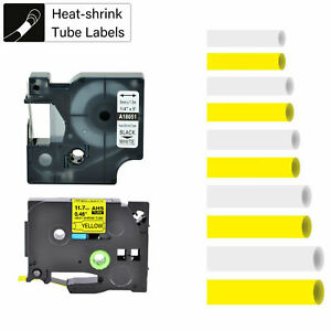 White Yellow Industrial Heat Shrink Tube Fits Brother P touch Dymo Rhino