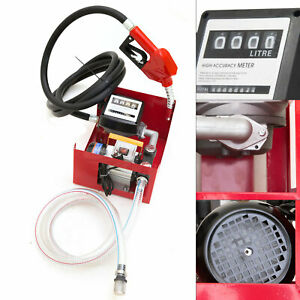 220v Electric Oil Fuel Diesel Gas Transfer Pump With Meter 2 4m Hoses Nozzle