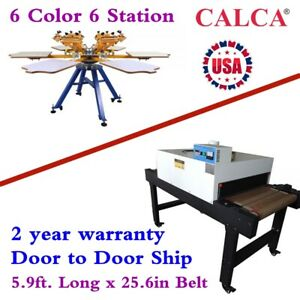 6 Color Manual Screen Printing Machine Conveyor Tunnel Dryer 5 9ft X 25 6in