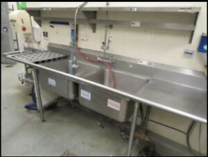Two Compartment Commercial 100 X 31 Stainless Steel Sink 23 Drainboard