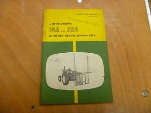 John Deere 10a 20a 3 point Hitch Sprayer Owner Operator Manual Omb25355