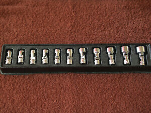 Snap On 111tmusma 11pc 1 4 Dr 6pt Metric Flank Drive Shallow Swivel Socket Set