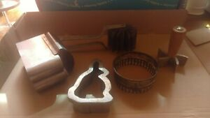 Vintage Commercial Baking Tools Bunny Cookie Eclair Cutter Dough Roller Plus