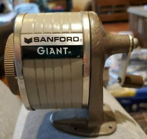 Vintage Metal Wall Desk Mount Sanford Giant Pencil Sharpener Table 6 Hole Office