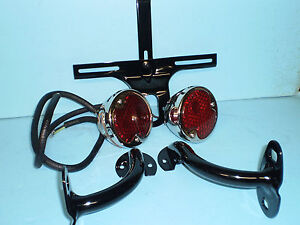 1932 Ford Passenger Car Taillight Set With Painted Mounts Plate Bracket