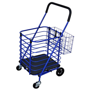 Blue Steel Grocery Cart Accessory Basket Portable Roll Storage Laundry Shopping