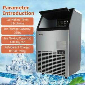 Commercial Ice Maker Cube Ice Machine Stainless Steel Bar 270w 500w 99lbs 24h