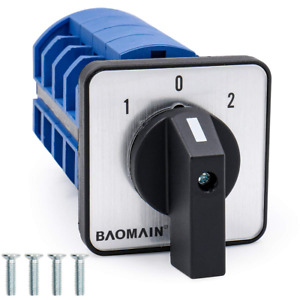 Baomain Rotary Selector Cam Changeover Switch Ac 660v 63a 3 Positions 4no 4nc