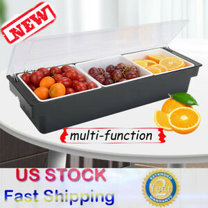 3 slot Iced Chilled Bar Top Food Condiment Topping Caddy Serving Tray