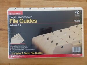 Globe weis Legal Sized Indexed File Guides Indexed A z No 9524 New Sealed