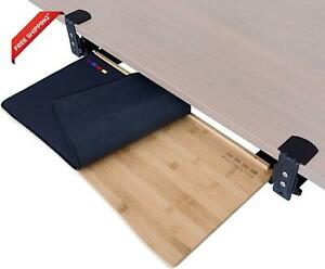 Easy Clamp On Large Keyboard Tray Under Desk Bamboo Wood Keyboard Drawer Wit