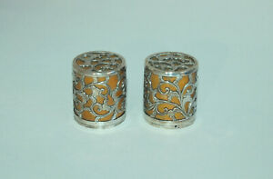 Pair Of Hanging Scroll End Knobs Jikusaki Silver And Akagane Red Alloy Japan