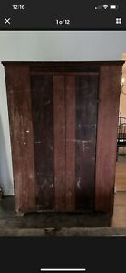 Large 19th C Early Old Antique Cabinet Cupboard Wardrobe Red Dark Blue Paint