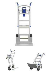 Assisted Hand Truck Aluminum Wheels Dolly Appliance Mover Cart Convertible Blue