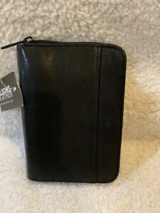 Small Wilson Leather Black Fine Leather Planner binder Folio Cover Notepad