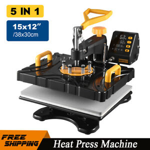 5in1 Heat Press Machine 12 x15 Sublimation Transfer Printing T shirt Mug Plate