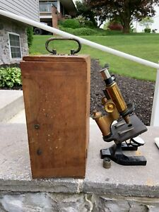 Vintage Spencer Lens Co Microscope With Wooden Case 0 65lens 1 Bausch Lombb